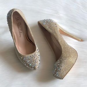 De Blossom Collection Platform Gold Sparkle Heels